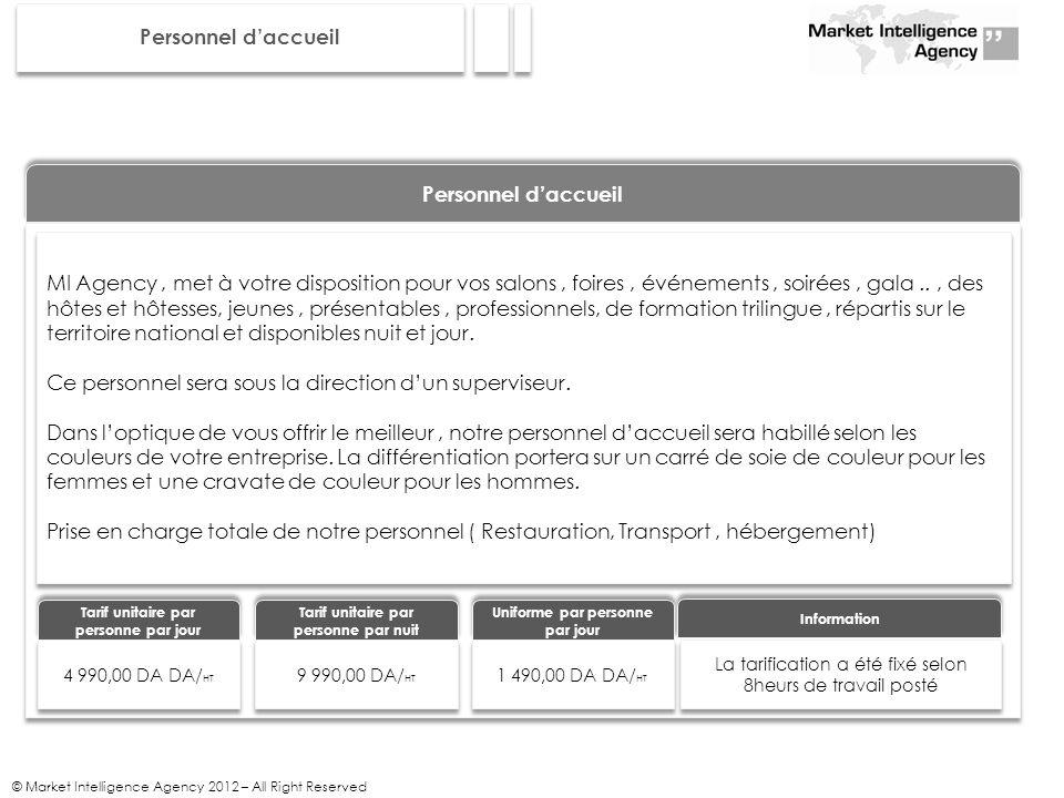 © Market Intelligence Agency 2012 – All Right Reserved Personnel daccueil MI Agency, met à votre disposition pour vos salons, foires, événements, soir