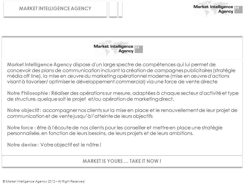 © Market Intelligence Agency 2012 – All Right Reserved Market Intelligence Agency dispose d'un large spectre de compétences qui lui permet de concevoi