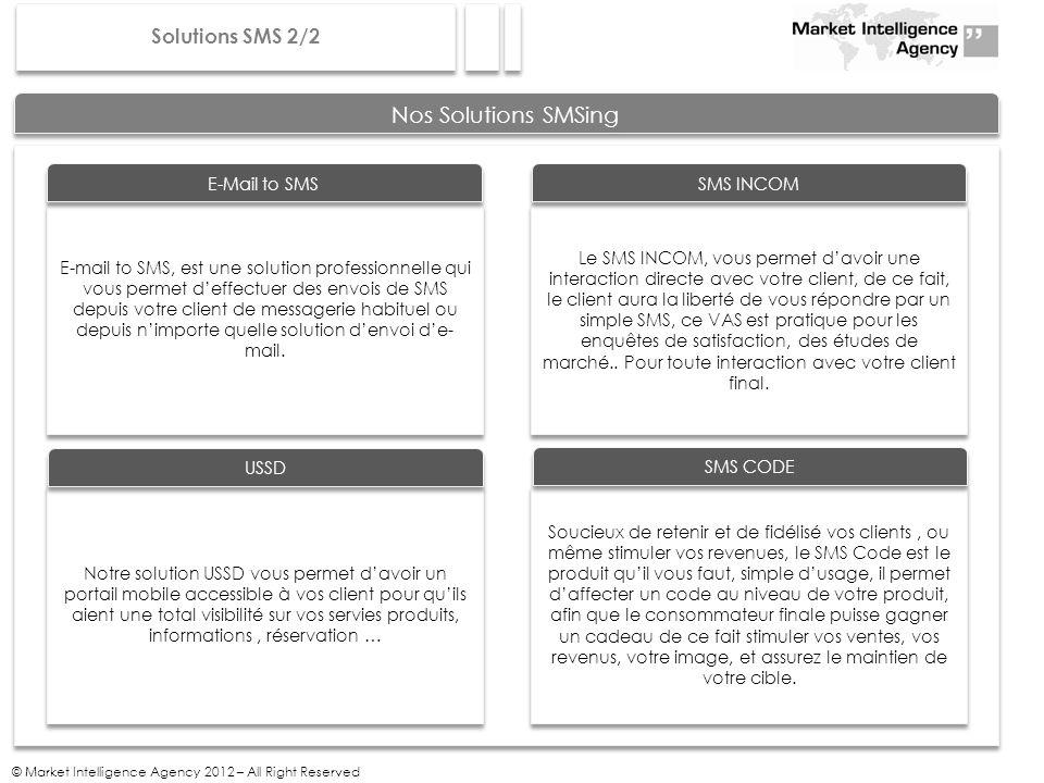 © Market Intelligence Agency 2012 – All Right Reserved Nos Solutions SMSing E-mail to SMS, est une solution professionnelle qui vous permet deffectuer des envois de SMS depuis votre client de messagerie habituel ou depuis nimporte quelle solution denvoi de- mail.