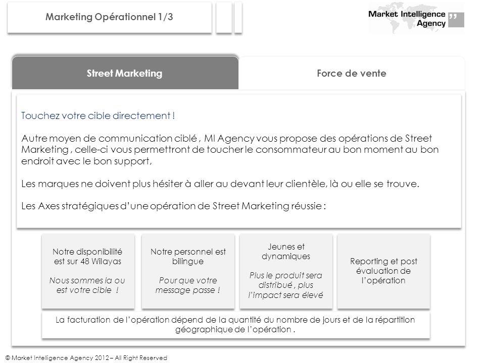 © Market Intelligence Agency 2012 – All Right Reserved Marketing Opérationnel 1/3 Street Marketing Force de vente Touchez votre cible directement .
