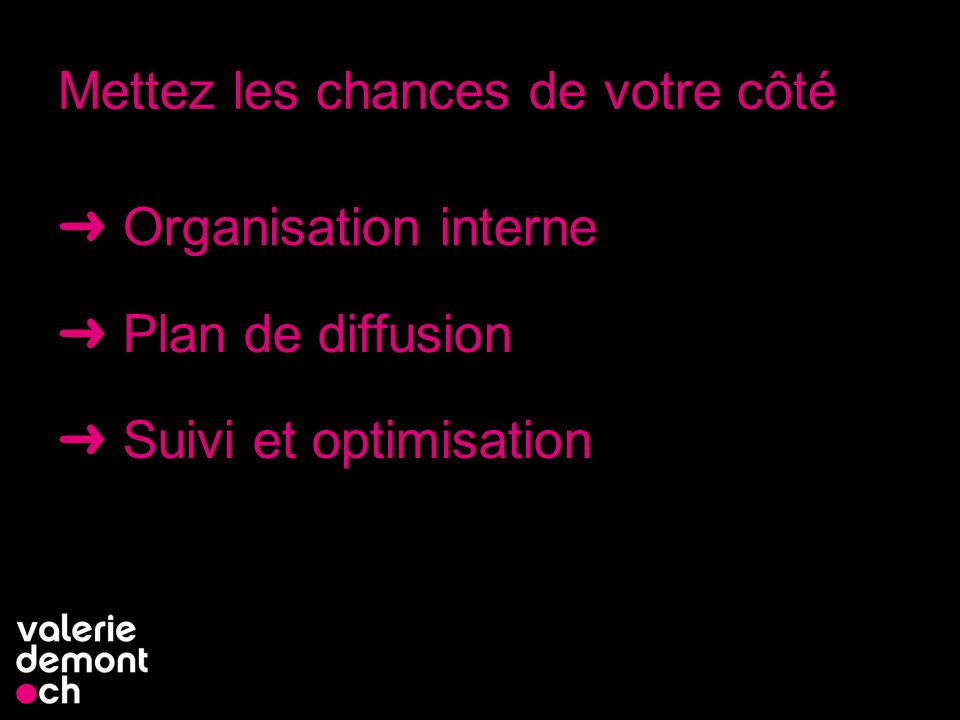 Mettez les chances de votre côté Organisation interne Plan de diffusion Suivi et optimisation 11