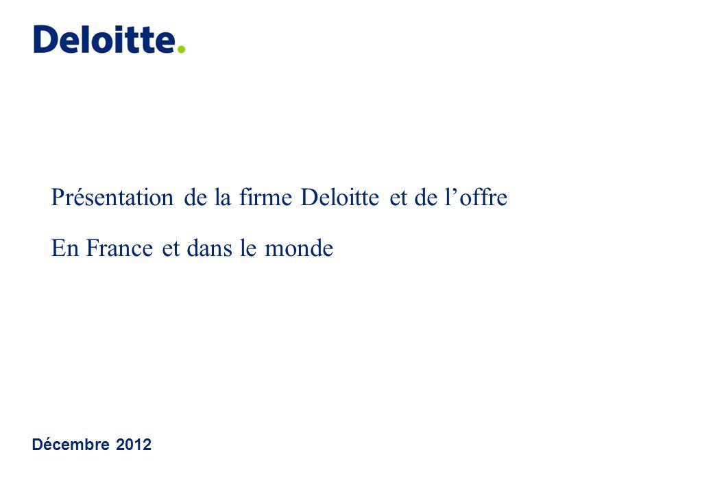 Décembre 2012 Présentation de la firme Deloitte et de loffre En France et dans le monde
