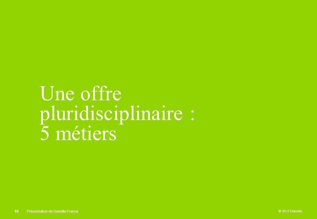 © 2012 Deloitte Une offre pluridisciplinaire : 5 métiers 10Présentation de Deloitte France
