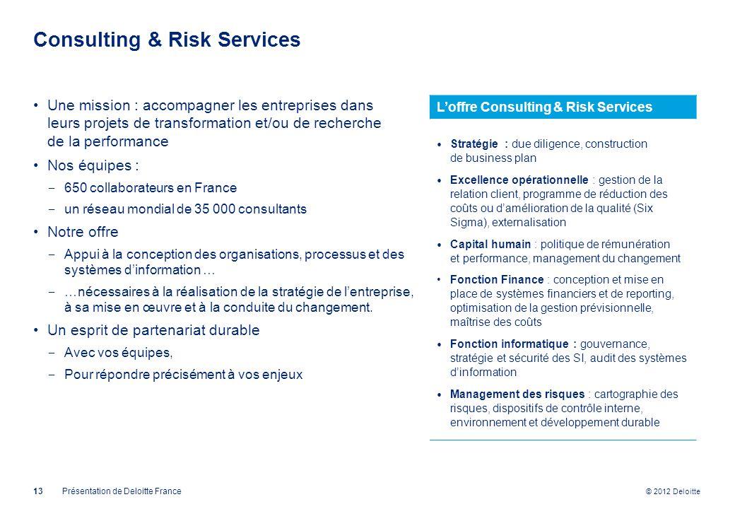 © 2012 Deloitte Consulting & Risk Services 13Présentation de Deloitte France Une mission : accompagner les entreprises dans leurs projets de transform