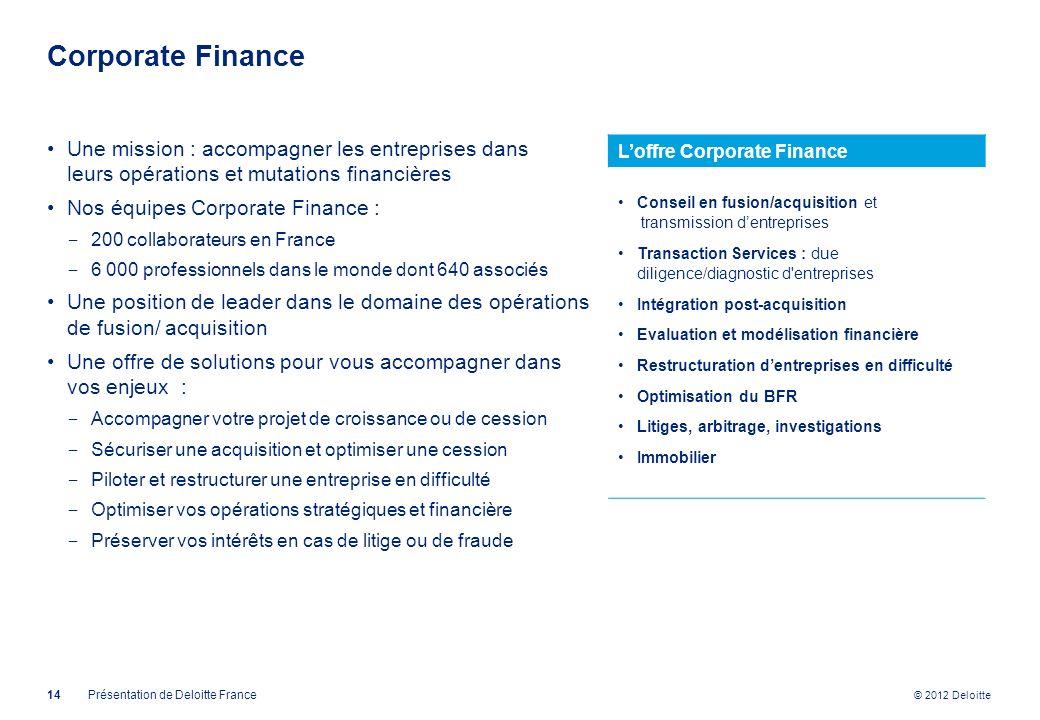 © 2012 Deloitte Corporate Finance 14Présentation de Deloitte France Une mission : accompagner les entreprises dans leurs opérations et mutations finan