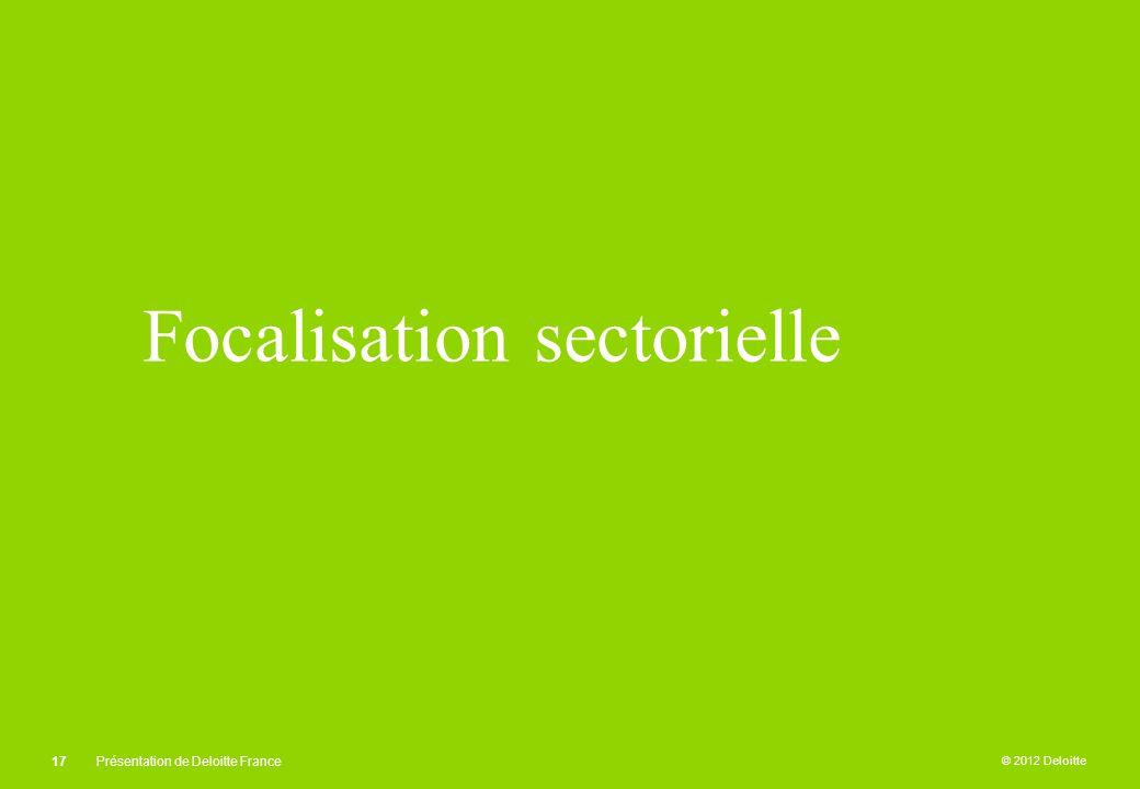 © 2012 Deloitte Focalisation sectorielle 17Présentation de Deloitte France