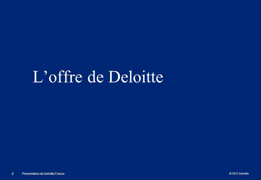 © 2012 Deloitte Loffre de Deloitte 2Présentation de Deloitte France