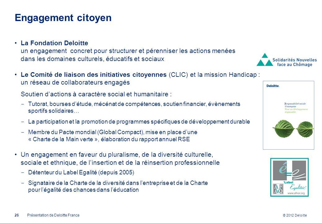 © 2012 Deloitte Engagement citoyen La Fondation Deloitte un engagement concret pour structurer et pérenniser les actions menées dans les domaines cult
