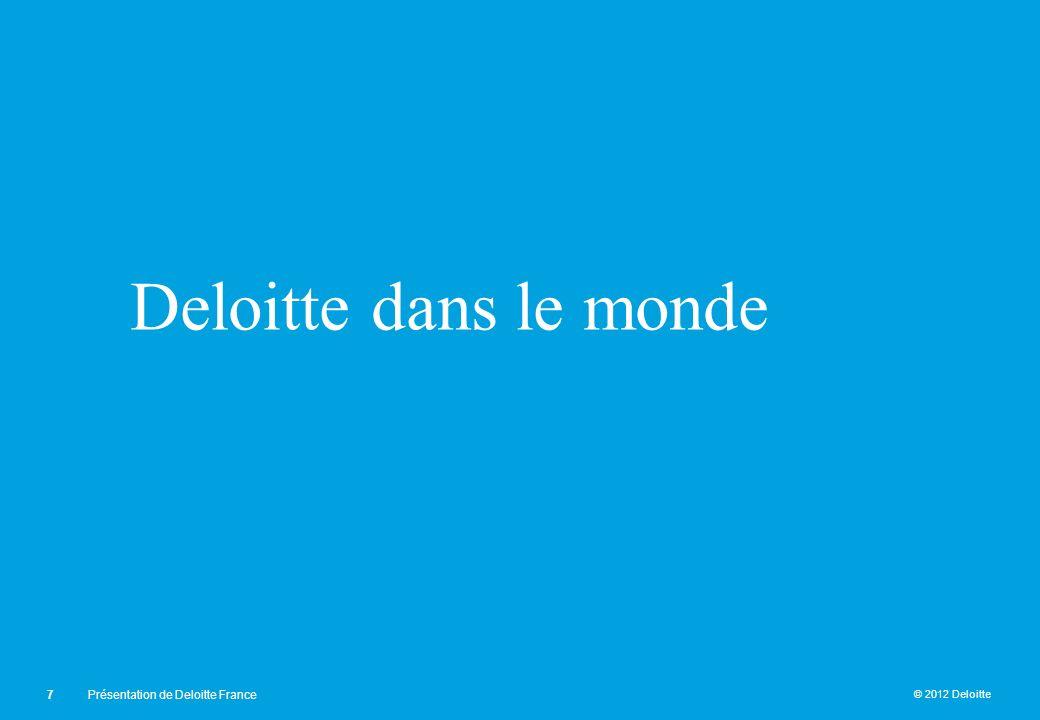 © 2012 Deloitte Deloitte dans le monde 7Présentation de Deloitte France