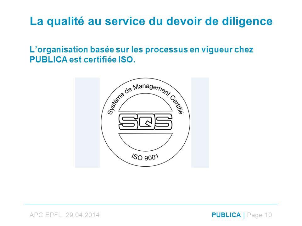 La qualité au service du devoir de diligence Lorganisation basée sur les processus en vigueur chez PUBLICA est certifiée ISO.