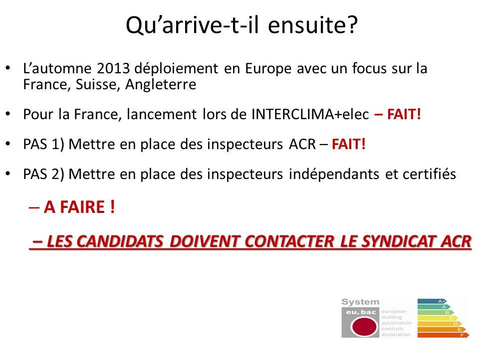 Quarrive-t-il ensuite? Lautomne 2013 déploiement en Europe avec un focus sur la France, Suisse, Angleterre Pour la France, lancement lors de INTERCLIM