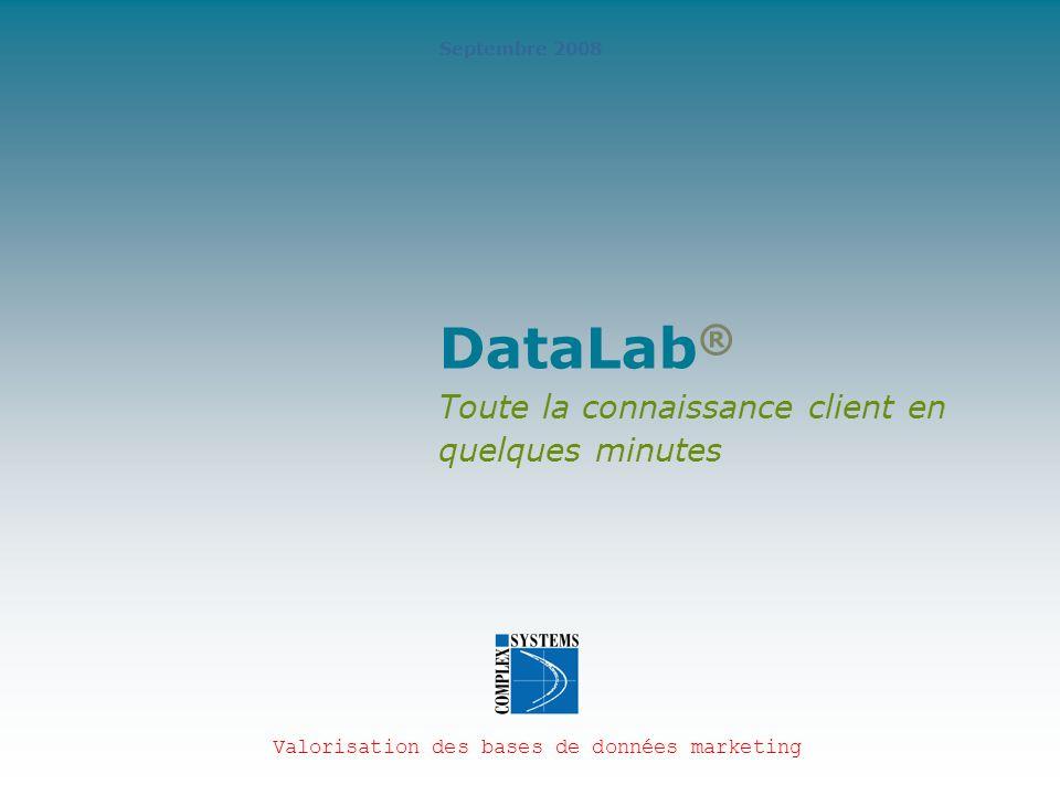 2 Un aperçu de DataLab ® DataLab est une solution unique de description et de prévision des comportements clients Seul ou en complément d autres outils statistiques ou datamining, DataLab apporte des gains de productivité et de performance considérables La démonstration présente les fonctionnalités descriptives de DataLab « Toute la connaissance clients en quelques minutes avec DataLab »