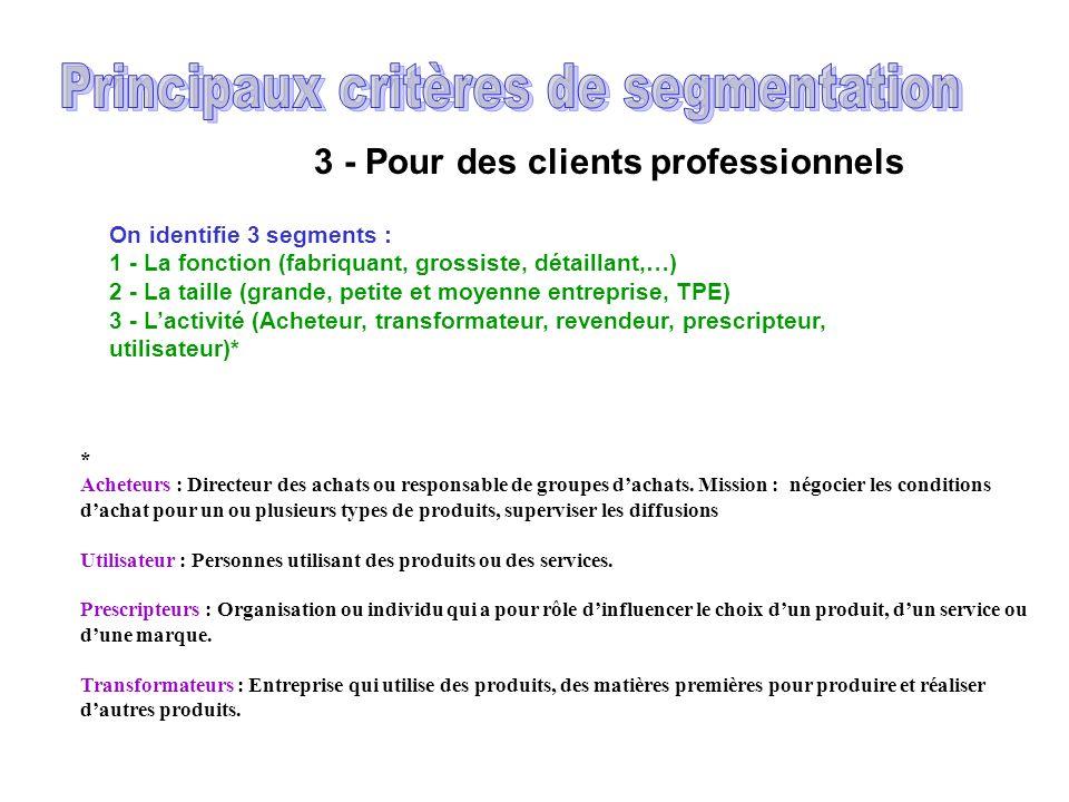 2 - Pour des clients particuliers On identifie 7 segments : 1 - Lâge (par tranche) 2 - Le sexe 3 - La profession (catégories socio-professionnelles) 4