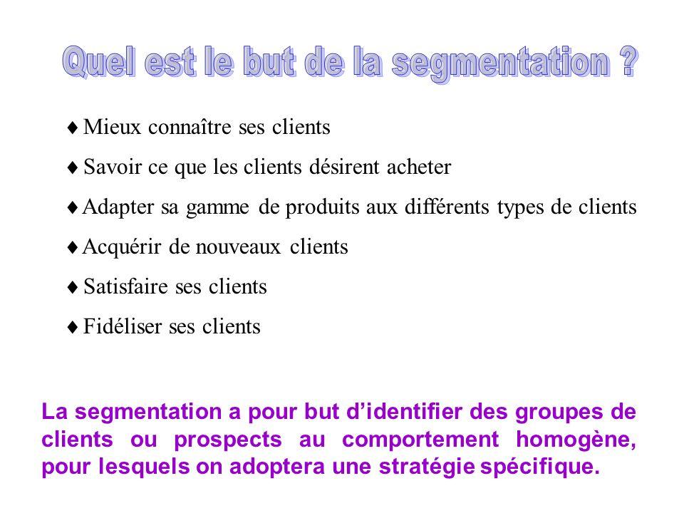 La segmentation a pour but didentifier des groupes de clients ou prospects au comportement homogène, pour lesquels on adoptera une stratégie spécifique.