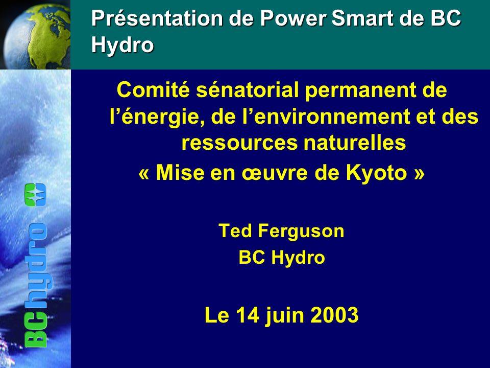 Présentation de Power Smart de BC Hydro Comité sénatorial permanent de lénergie, de lenvironnement et des ressources naturelles « Mise en œuvre de Kyoto » Ted Ferguson BC Hydro Le 14 juin 2003