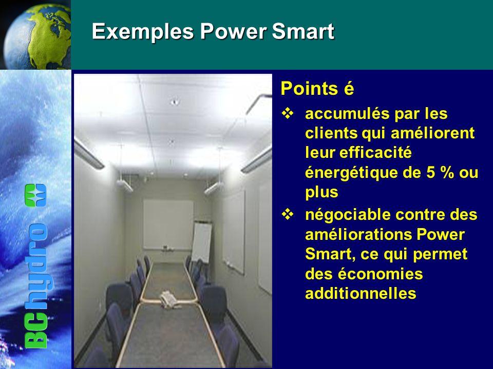 Exemples Power Smart Points é vaccumulés par les clients qui améliorent leur efficacité énergétique de 5 % ou plus vnégociable contre des améliorations Power Smart, ce qui permet des économies additionnelles
