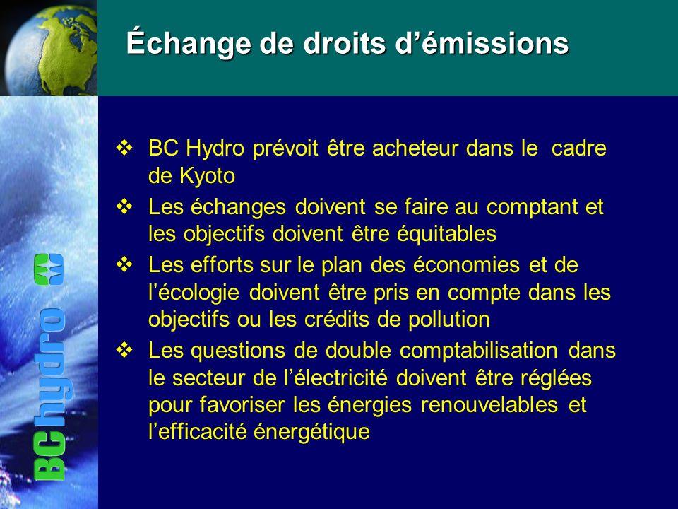 Échange de droits démissions vBC Hydro prévoit être acheteur dans le cadre de Kyoto vLes échanges doivent se faire au comptant et les objectifs doivent être équitables vLes efforts sur le plan des économies et de lécologie doivent être pris en compte dans les objectifs ou les crédits de pollution vLes questions de double comptabilisation dans le secteur de lélectricité doivent être réglées pour favoriser les énergies renouvelables et lefficacité énergétique