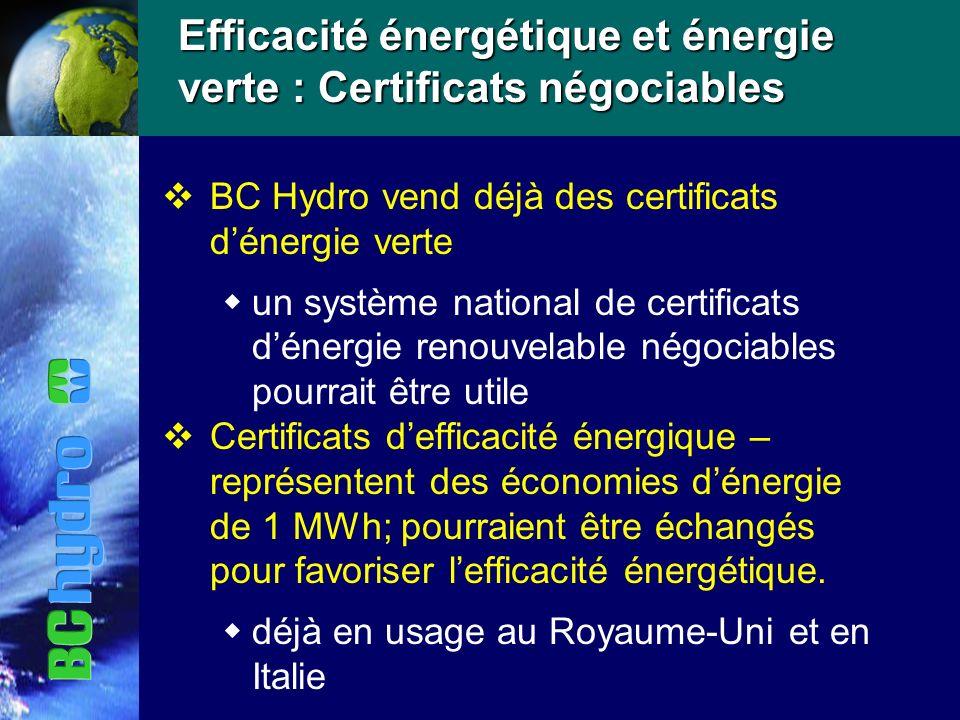 Efficacité énergétique et énergie verte : Certificats négociables vBC Hydro vend déjà des certificats dénergie verte un système national de certificats dénergie renouvelable négociables pourrait être utile vCertificats defficacité énergique – représentent des économies dénergie de 1 MWh; pourraient être échangés pour favoriser lefficacité énergétique.