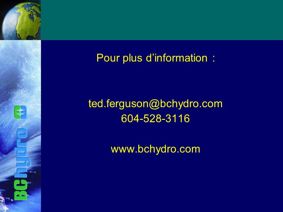 Pour plus dinformation : ted.ferguson@bchydro.com 604-528-3116 www.bchydro.com