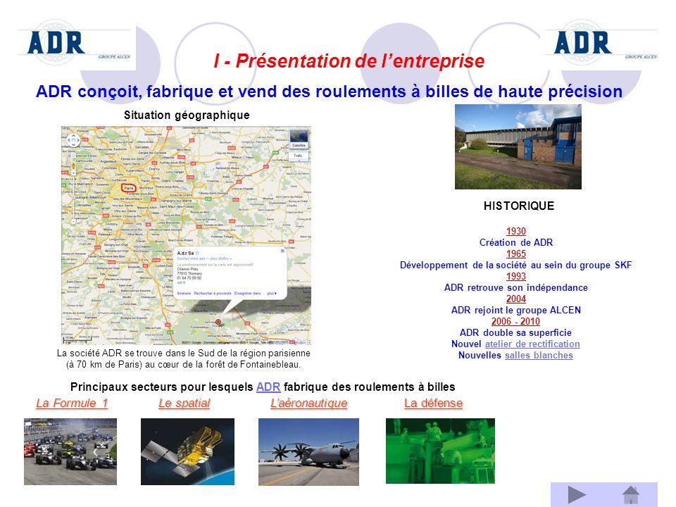 I - Présentation de lentreprise A.A. ADR conçoit, fabrique et vend des roulements à billes de haute précision La société ADR se trouve dans le Sud de
