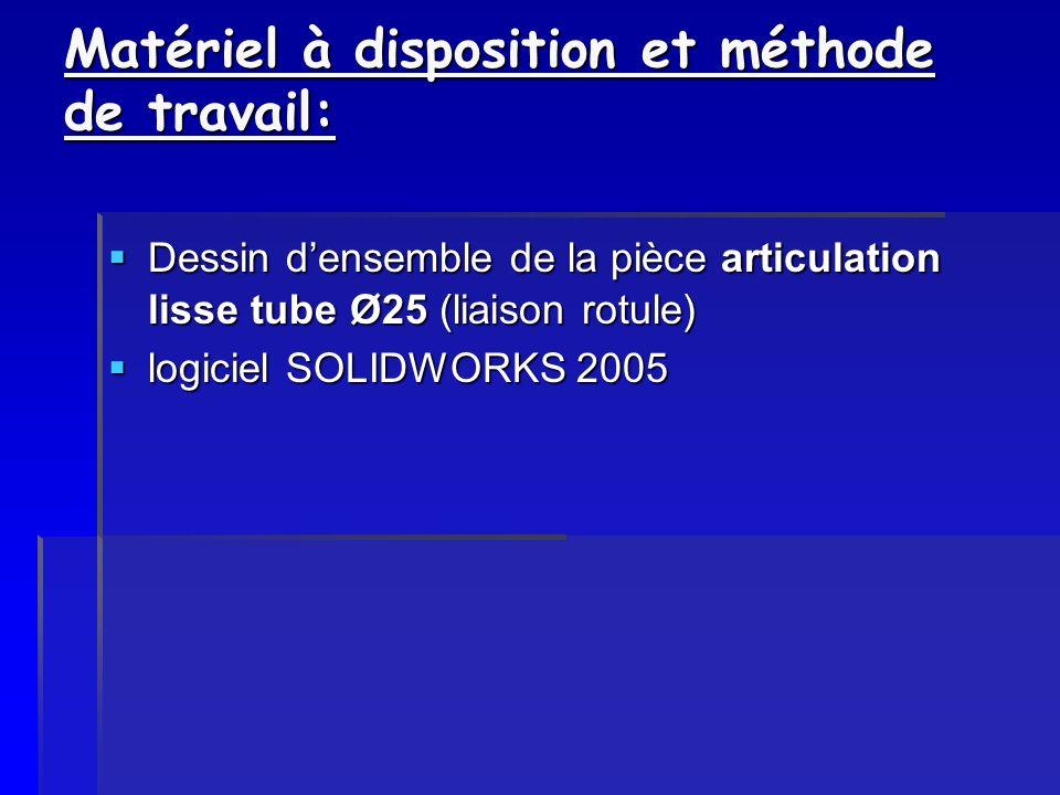 Matériel à disposition et méthode de travail: Dessin densemble de la pièce articulation lisse tube Ø25 (liaison rotule) Dessin densemble de la pièce a