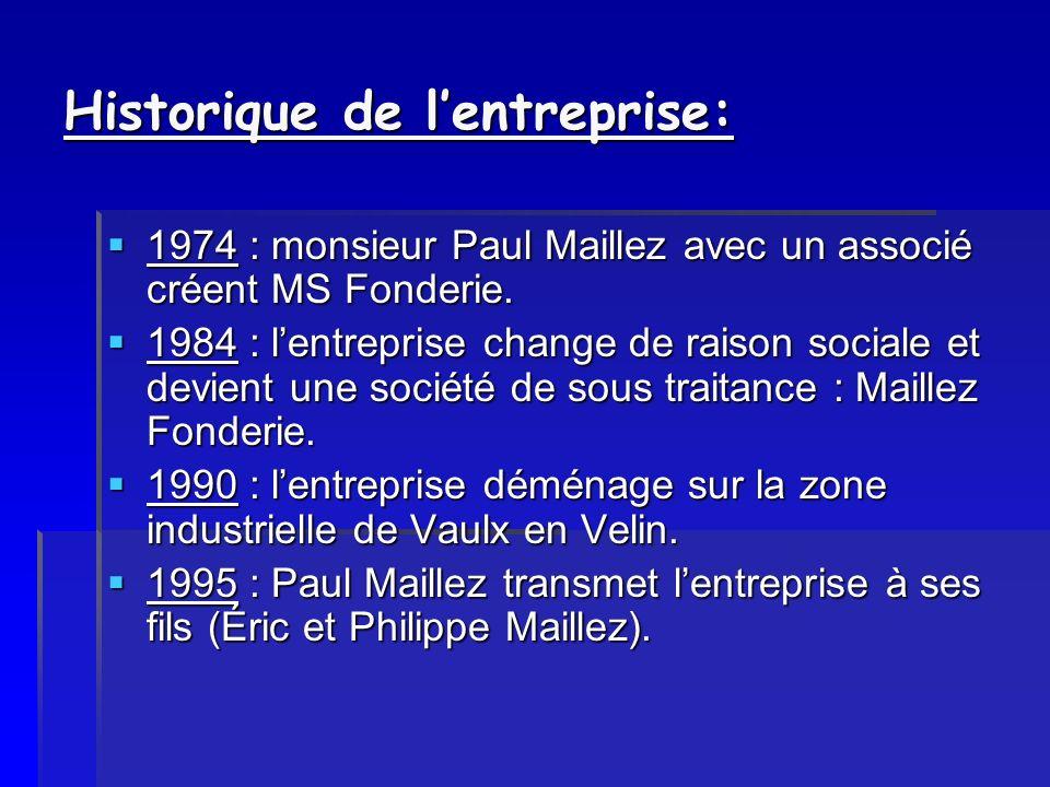 Historique de lentreprise: 1974 : monsieur Paul Maillez avec un associé créent MS Fonderie. 1974 : monsieur Paul Maillez avec un associé créent MS Fon