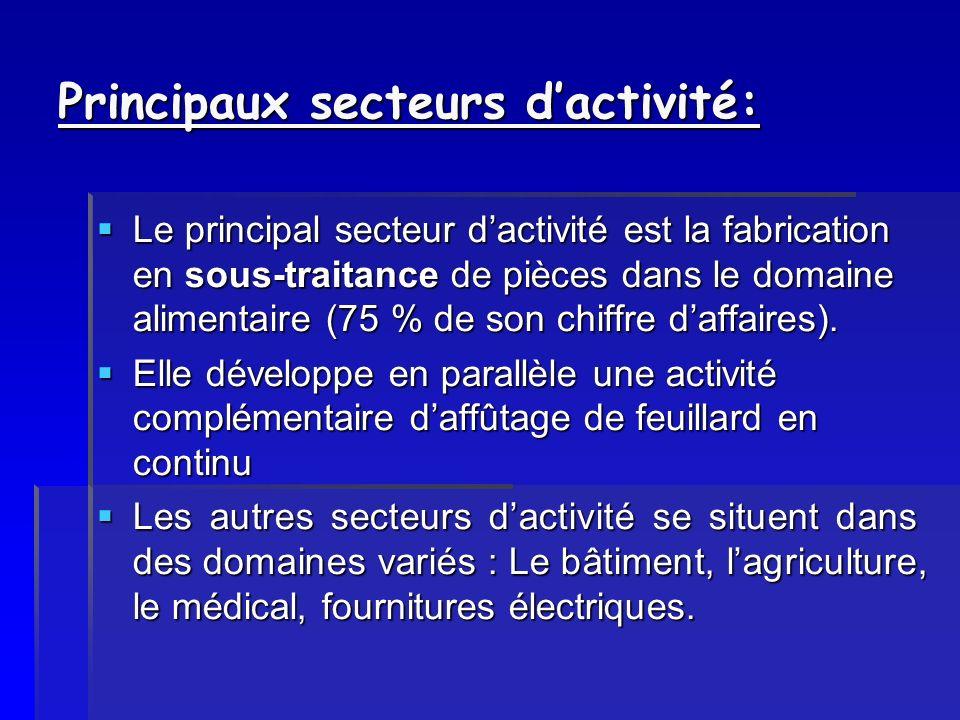 Principaux secteurs dactivité: Le principal secteur dactivité est la fabrication en sous-traitance de pièces dans le domaine alimentaire (75 % de son