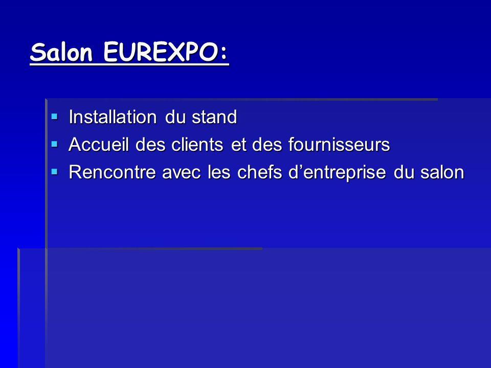 Salon EUREXPO: Installation du stand Installation du stand Accueil des clients et des fournisseurs Accueil des clients et des fournisseurs Rencontre a