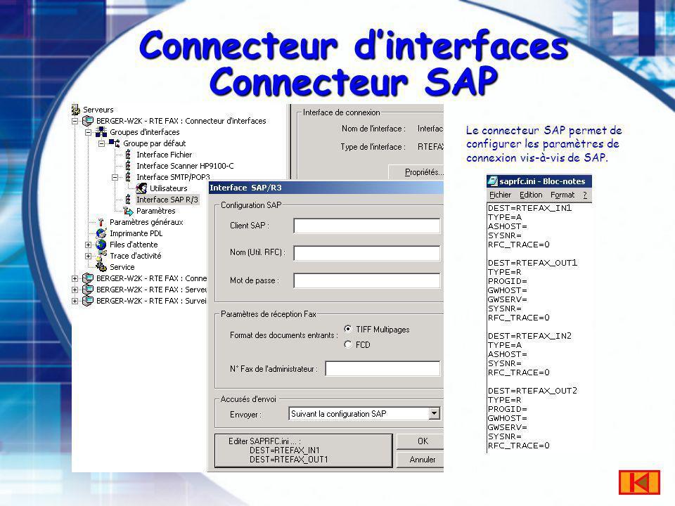 Connecteur dinterfaces Connecteur SAP Le connecteur SAP permet de configurer les paramètres de connexion vis-à-vis de SAP.