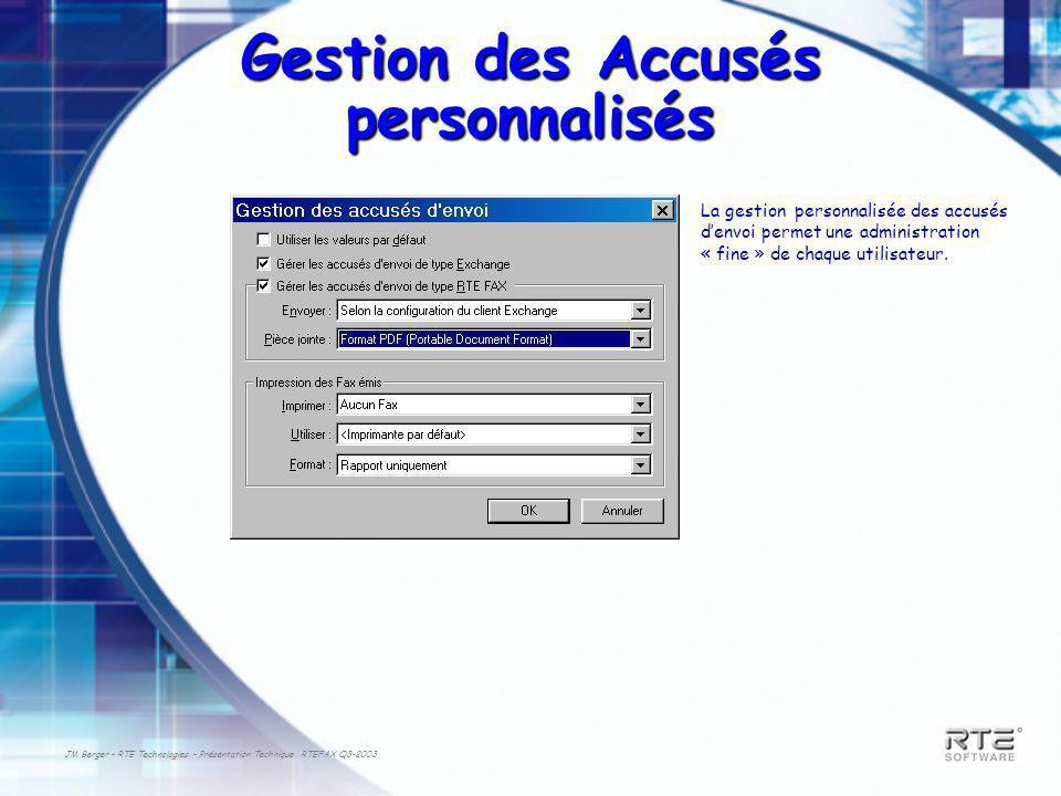 JM Berger – RTE Technologies - Présentation Technique RTEFAX Q3-2003 Gestion des Accusés personnalisés La gestion personnalisée des accusés denvoi permet une administration « fine » de chaque utilisateur.