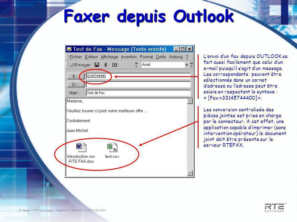 JM Berger – RTE Technologies - Présentation Technique RTEFAX Q3-2003 Faxer depuis Outlook Lenvoi dun fax depuis OUTLOOK se fait aussi facilement que celui dun e-mail puisquil sagit dun message.