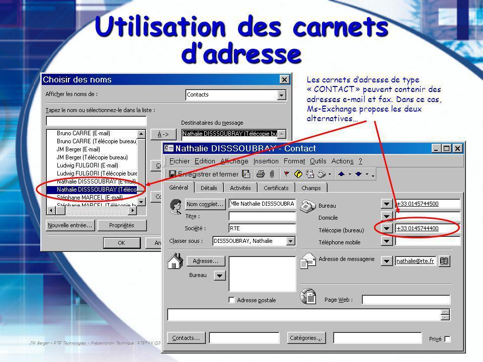 JM Berger – RTE Technologies - Présentation Technique RTEFAX Q3-2003 Utilisation des carnets dadresse Les carnets dadresse de type « CONTACT » peuvent contenir des adresses e-mail et fax.