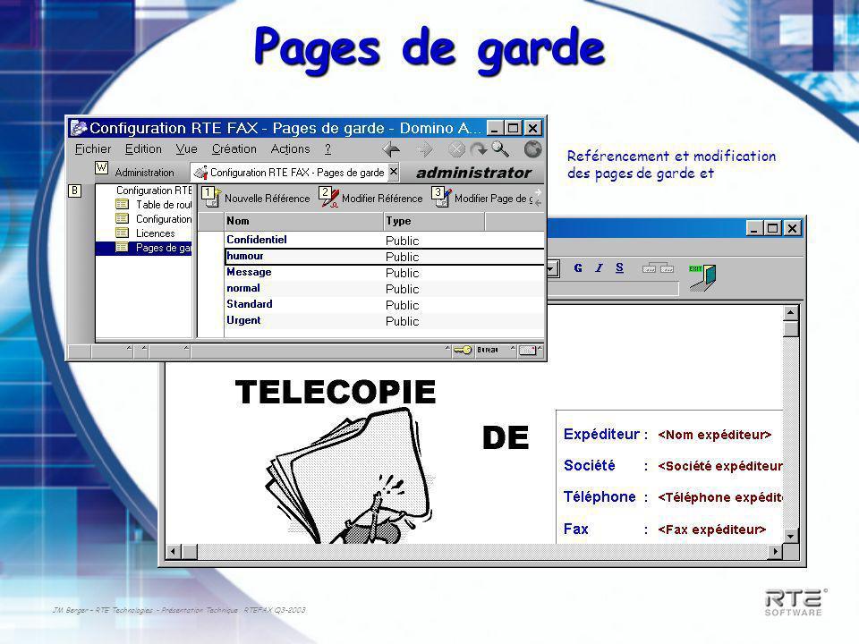 JM Berger – RTE Technologies - Présentation Technique RTEFAX Q3-2003 Pages de garde Reférencement et modification des pages de garde et