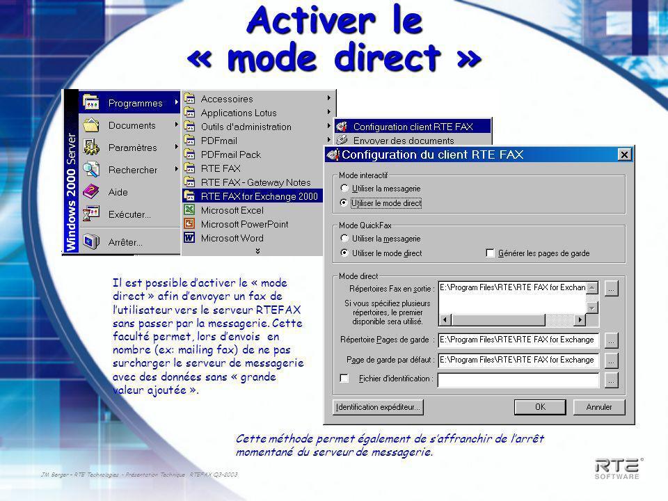 JM Berger – RTE Technologies - Présentation Technique RTEFAX Q3-2003 Activer le « mode direct » Il est possible dactiver le « mode direct » afin denvoyer un fax de lutilisateur vers le serveur RTEFAX sans passer par la messagerie.