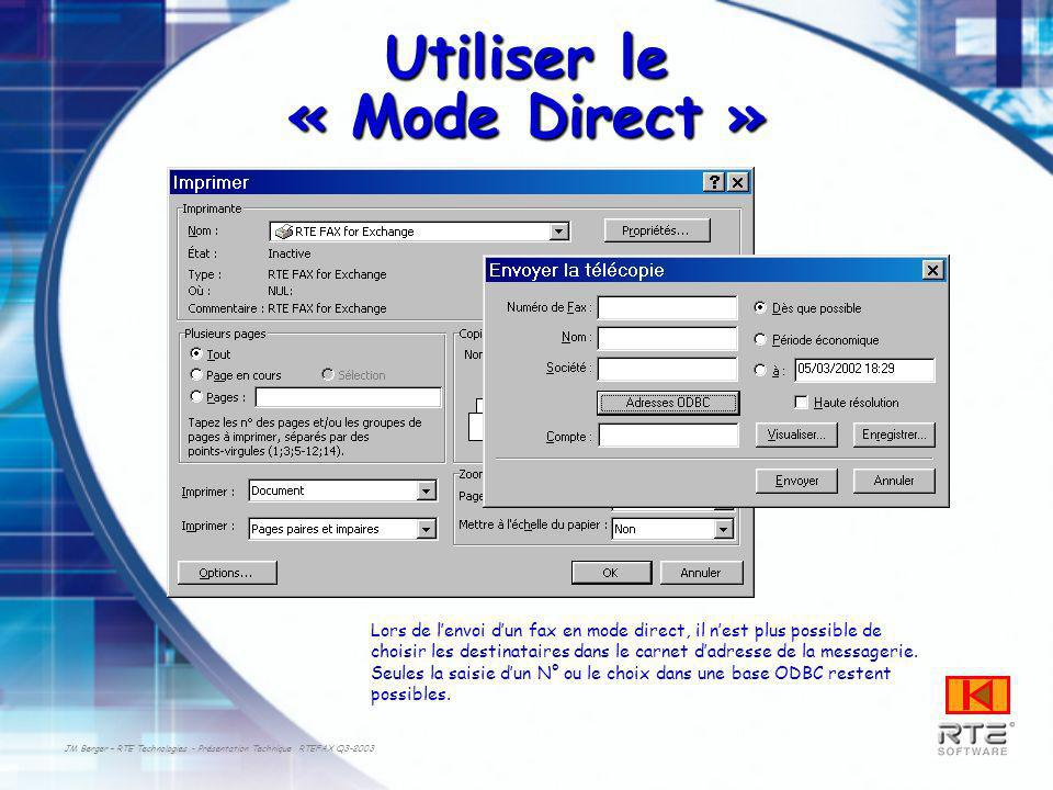JM Berger – RTE Technologies - Présentation Technique RTEFAX Q3-2003 Utiliser le « Mode Direct » Lors de lenvoi dun fax en mode direct, il nest plus p