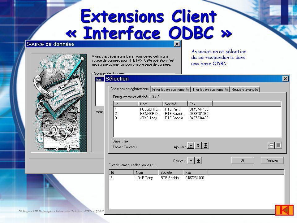 JM Berger – RTE Technologies - Présentation Technique RTEFAX Q3-2003 Extensions Client « Interface ODBC » Association et sélection de correspondants dans une base ODBC.