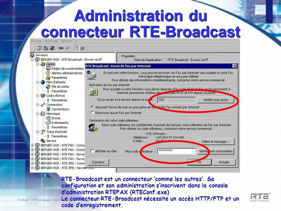 JM Berger – RTE Technologies - Présentation Technique RTEFAX Q3-2003 Administration du connecteur RTE-Broadcast RTE-Broadcast est un connecteur comme les autres.