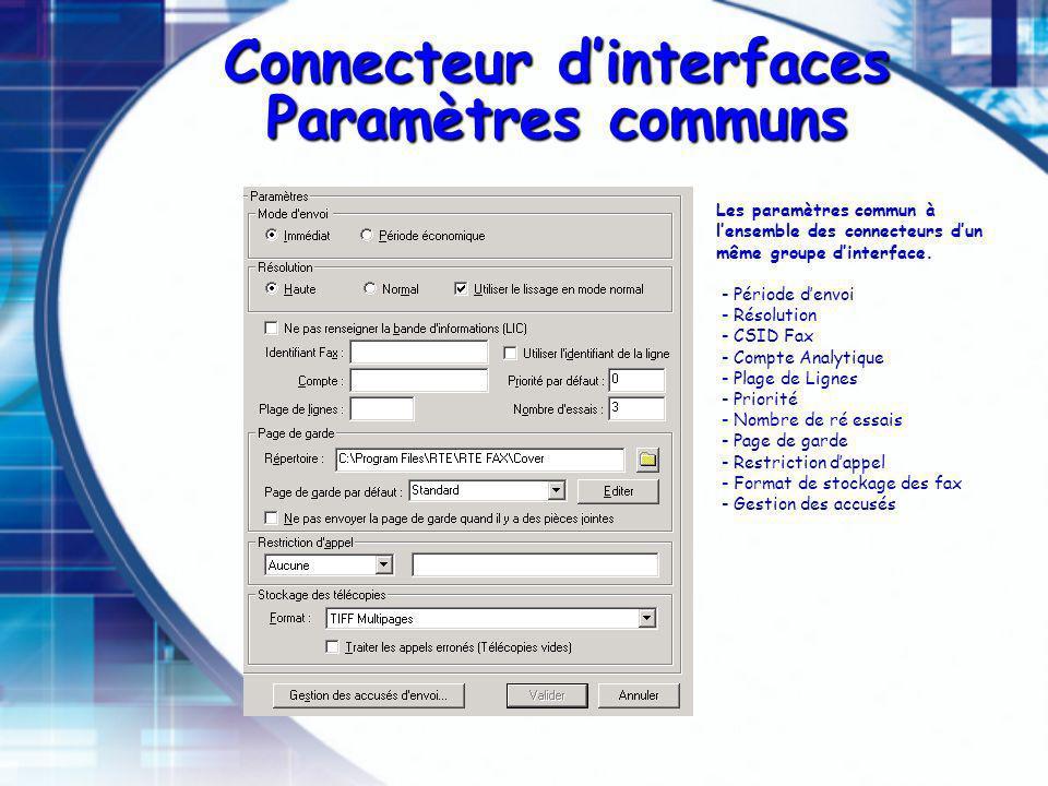 Connecteur dinterfaces Paramètres communs Les paramètres commun à lensemble des connecteurs dun même groupe dinterface. - Période denvoi - Résolution