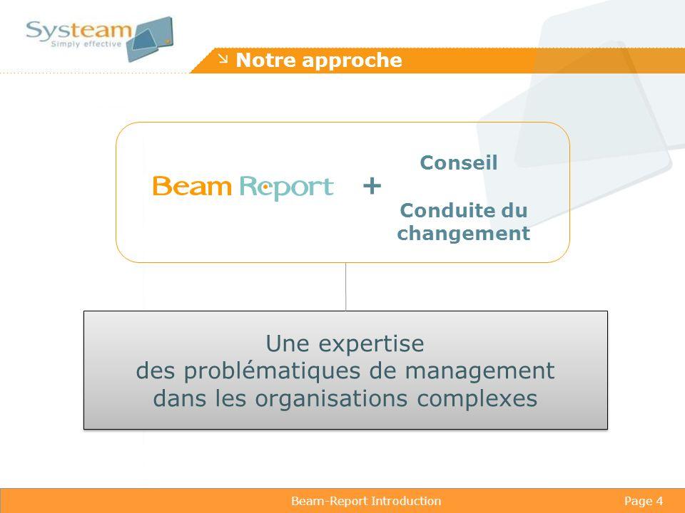 Beam-Report IntroductionPage 4 Notre approche Conseil Conduite du changement + Une expertise des problématiques de management dans les organisations complexes