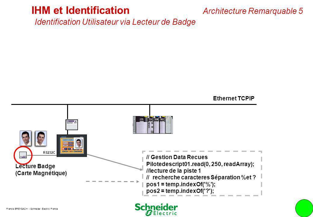 Francis BREYSACH - Schneider Electric France 8 Ethernet TCPIP IHM et Identification Architecture Remarquable 5 Identification Utilisateur via Lecteur