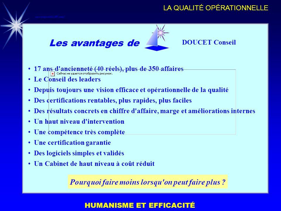 HUMANISME ET EFFICACITÉ LA QUALITÉ OPÉRATIONNELLE Les avantages de DOUCET Conseil 17 ans d'ancienneté (40 réels), plus de 350 affaires Le Conseil des