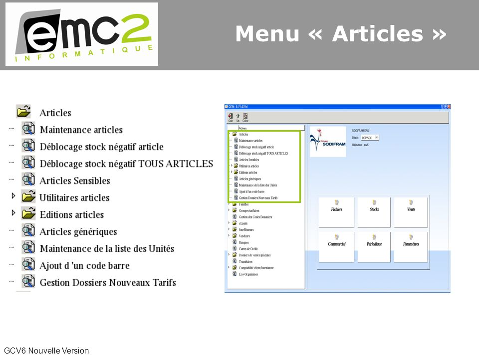GCV6 Nouvelle Version Menu « Articles »