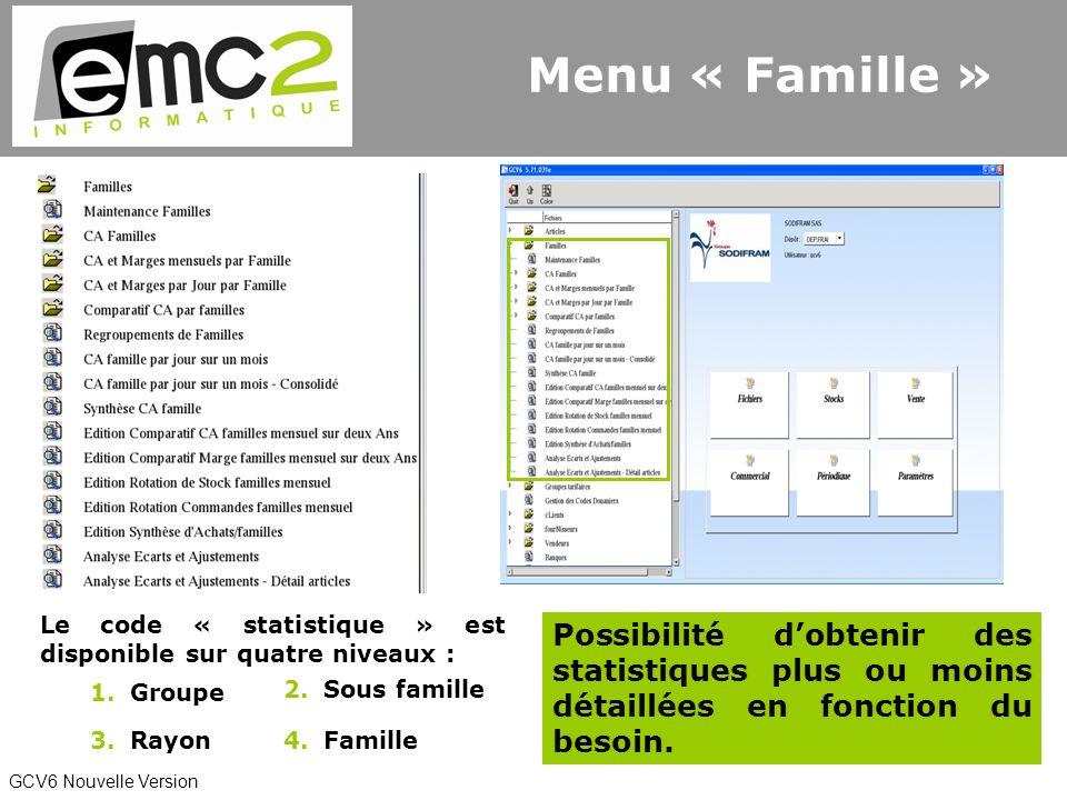 GCV6 Nouvelle Version Le code « statistique » est disponible sur quatre niveaux : 1.Groupe 3.Rayon4.Famille 2.Sous famille Possibilité dobtenir des statistiques plus ou moins détaillées en fonction du besoin.