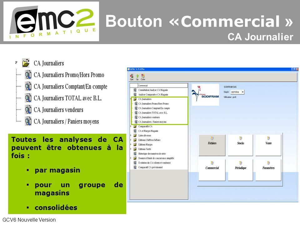GCV6 Nouvelle Version Toutes les analyses de CA peuvent être obtenues à la fois : par magasin pour un groupe de magasins consolidées Bouton «Commercial » CA Journalier