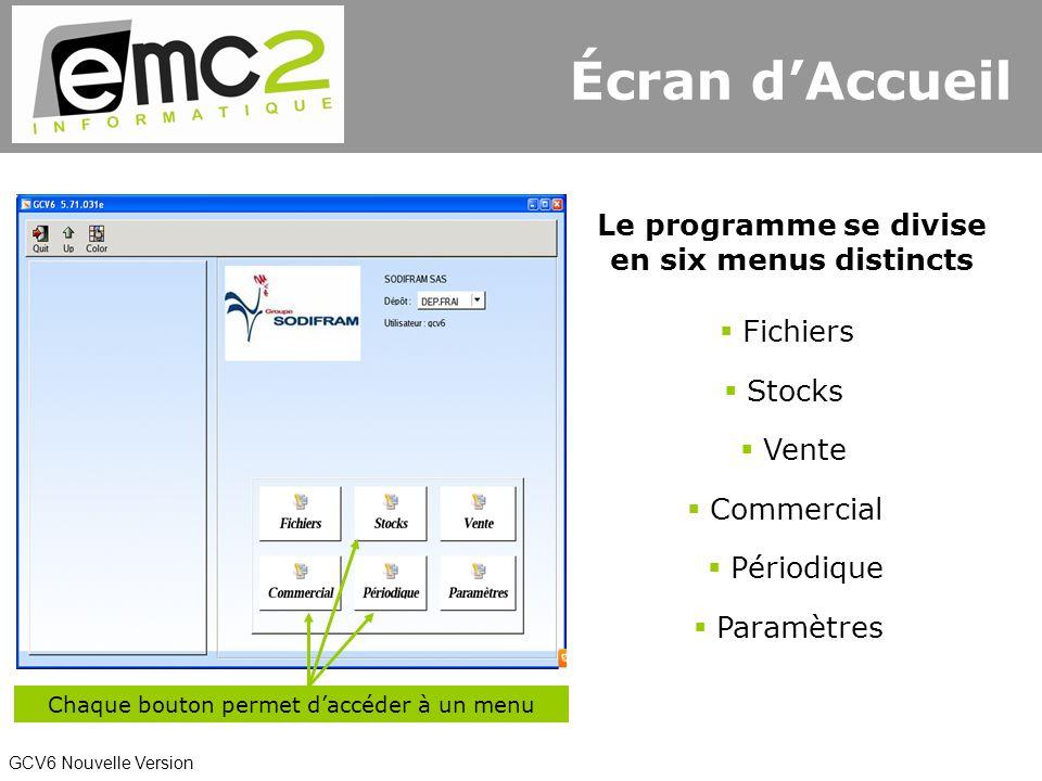 GCV6 Nouvelle Version Écran dAccueil Le programme se divise en six menus distincts Chaque bouton permet daccéder à un menu Fichiers Stocks Vente Commercial Périodique Paramètres