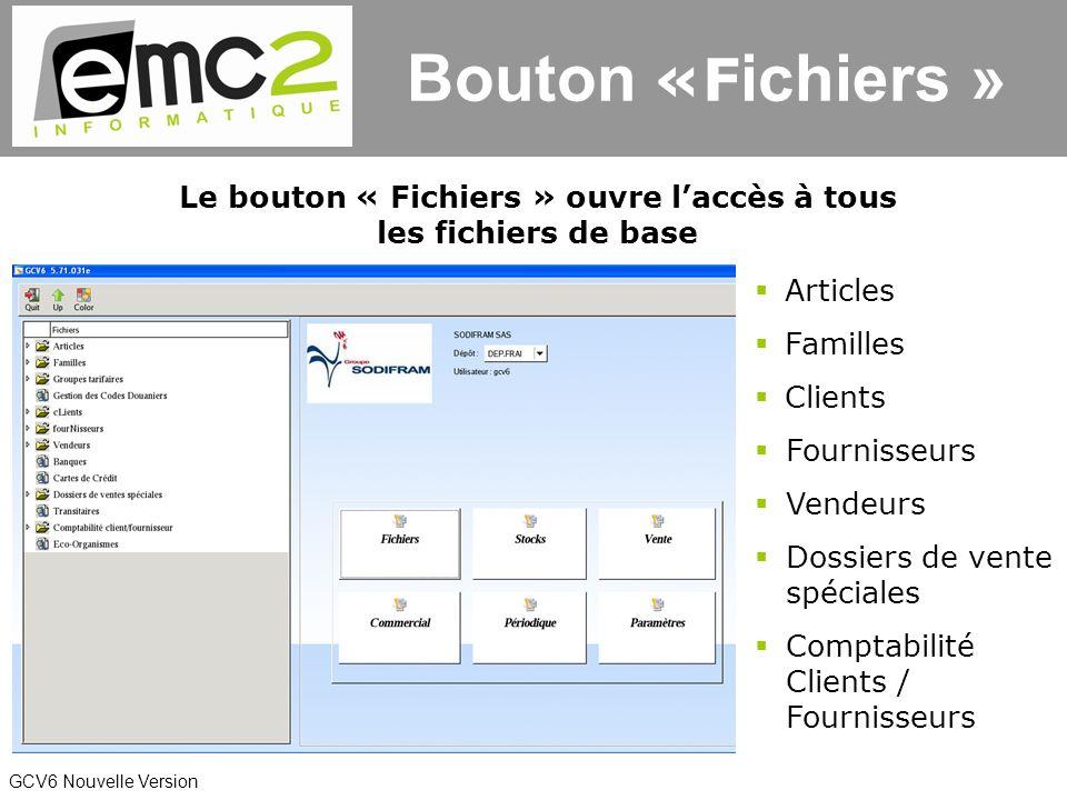 GCV6 Nouvelle Version Bouton «F ichiers » Le bouton « Fichiers » ouvre laccès à tous les fichiers de base Articles Familles Clients Fournisseurs Dossiers de vente spéciales Vendeurs Comptabilité Clients / Fournisseurs