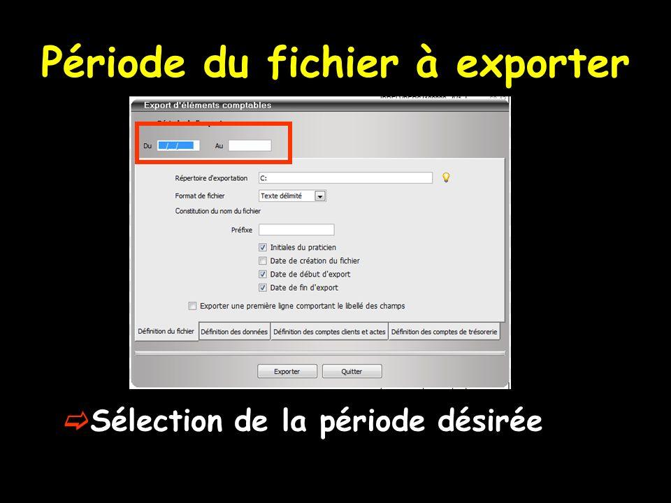 Période du fichier à exporter Sélection de la période désirée