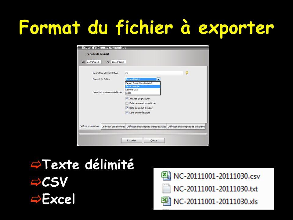 Format du fichier à exporter Texte délimité CSV Excel