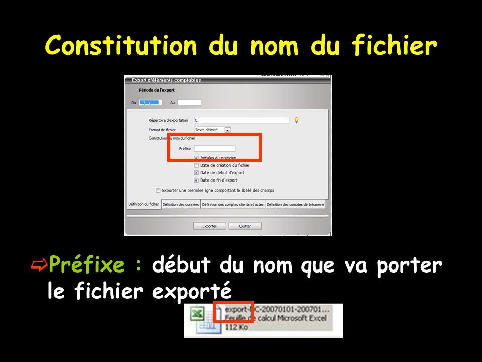 Constitution du nom du fichier Préfixe : début du nom que va porter le fichier exporté