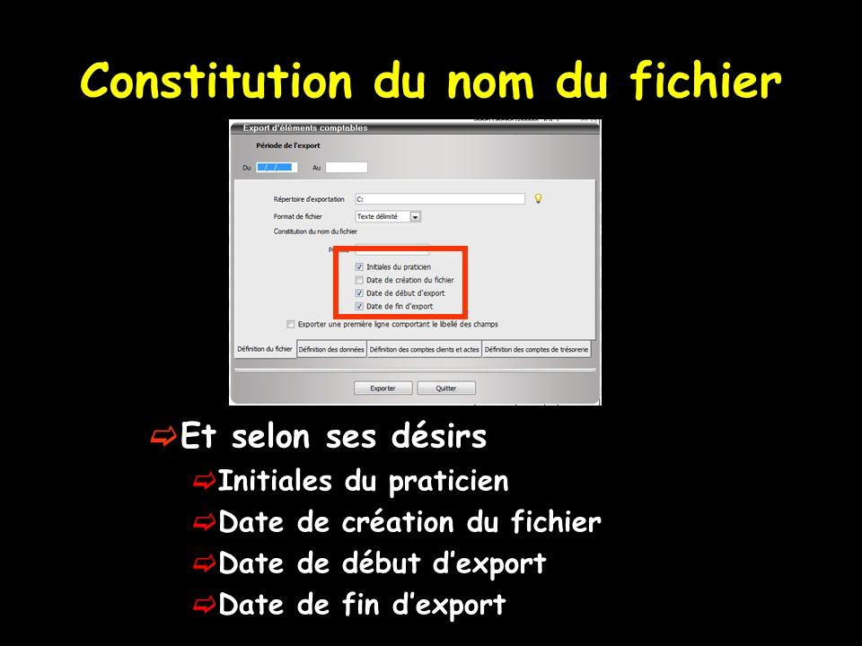 Constitution du nom du fichier Et selon ses désirs Initiales du praticien Date de création du fichier Date de début dexport Date de fin dexport